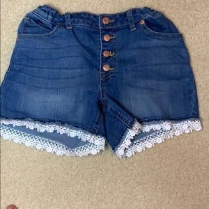Cat and Jack jean shorts with white trim lace